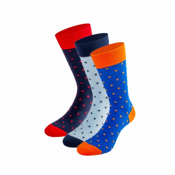 Mehrfarbiges lustiges Socken Bundle mit roten, blauen und orangen Punkte Socken von PATRON SOCKS