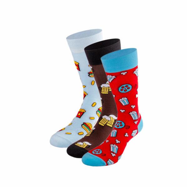 Mehrfarbiges lustiges Socken Bundle mit Fast Food, Bier und Cinema Socken von PATRON SOCKS