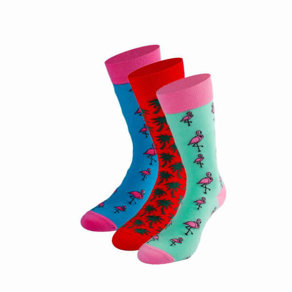 Mehrfarbiges lustiges Socken Bundle mit Flamingo und Palmen Socken von PATRON SOCKS