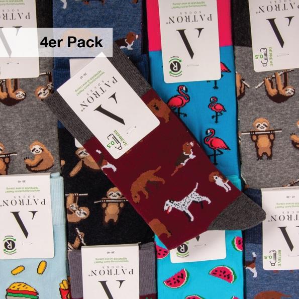 Buntes 4er Socken Bundle mit verrückten Crazy Socken für Männer von PATRON SOCKS