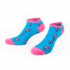 BUNTE Sneaker Socken IN TÜRKIS mit pinken Flamingos von PATRON SOCKS
