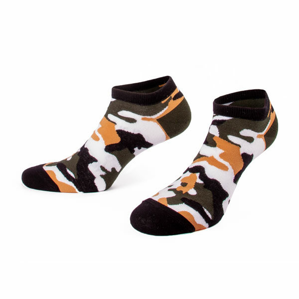 Sneaker Socken mit khaki braun weißes Camo Muster