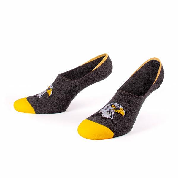 Graue Falke Füßlinge von PATRON SOCKS mit gelber Fußspitze