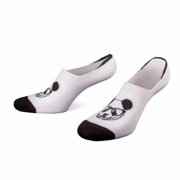 weiße rutschfeste Invisible Socken mit Panda von PATRON SOCKS
