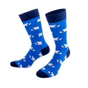 Weißer Eisbär auf blauer Socke von PATRON SOCKS
