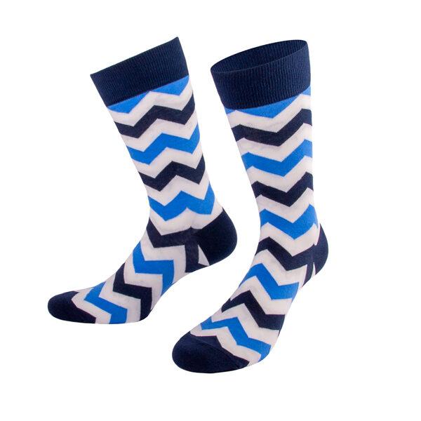 Blaue abwechllungsreiche ZIgZag Socken von PATRON SOCKS