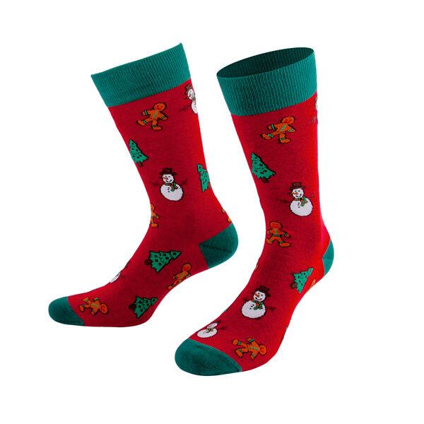 Rote Weihnachtssocken mit Schneemann Tannenbaum Lebkuchen von PATRON SOCKS