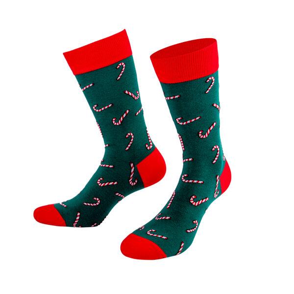 grün rot farbige Weihnachtssocke mit Zuckerstangen von PATRON SOCKS
