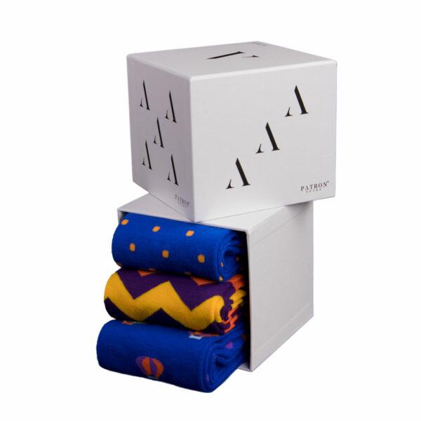 Mehrfarbige lustige blau orange Punkte mehrfarbige Zickzack blau orange Heißluftballon Socken von PATRON SOCKS in einer Geschenkbox