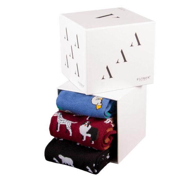Mehrfarbige lustige Socken mit blauen Koalas bordeauxroten Hunden und ein Paar schwarzen Eisbären von PATRON SOCKS in einer Geschenkbox