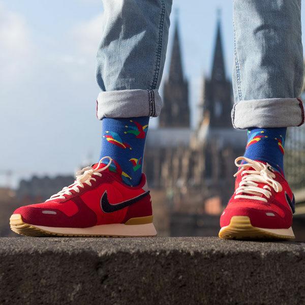 Karnevals Socken von PATRON SOCKS mit Kölner Dom im Hintergrund