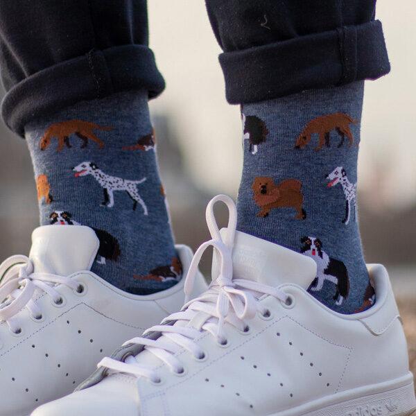 Süße blau melierte lustige Hunde Socken von PATRON SOCKS