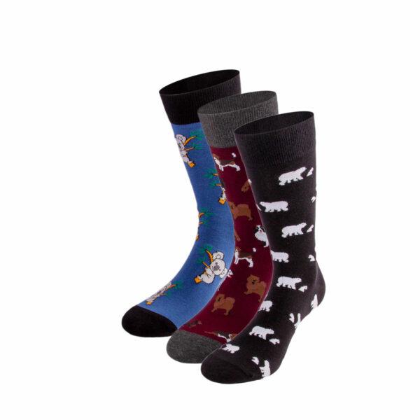 Mehrfarbiges lustiges Socken Bundle mit Koala, Eisbär und Hunde Socken von PATRON SOCKS