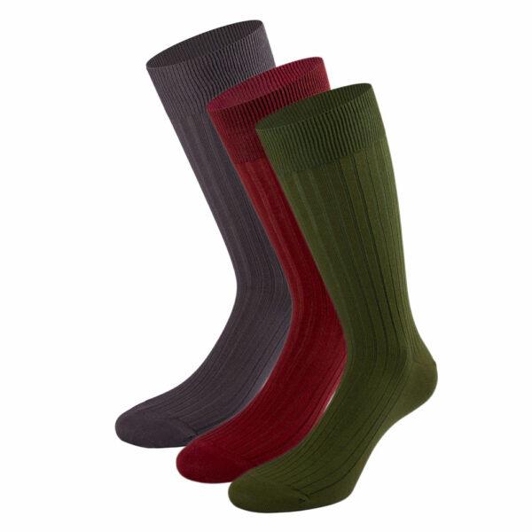 Mehrfarbiges edles Business Socken Bundle mit grünen, bordeaux roten und anthrazit grauen Socken von PATRON SOCKS