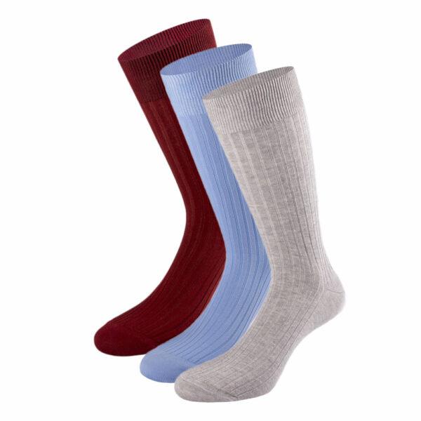 Mehrfarbiges edles Business Socken Bundle mit hellgrau melierten, hellblauen und bordeaux roten Socken von PATRON SOCKS