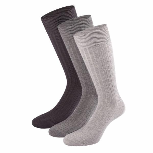 Mehrfarbiges edles Business Socken Bundle mit helgrau melierten, grau melierten und anthrazit Socken von PATRON SOCKS
