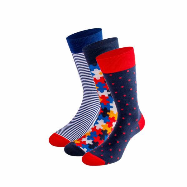 Mehrfarbiges lustiges Socken Bundle mit gestreiften, puzzle und gepunkteten Socken von PATRON SOCKS