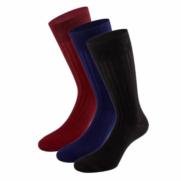 Mehrfarbiges edles Business Socken Bundle mit schwarzen, marine blauen, bordeaux roten Socken von PATRON SOCKS