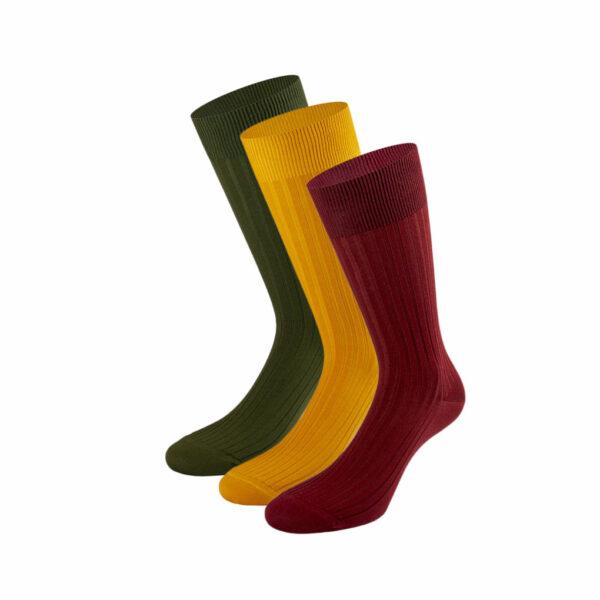 Mehrfarbiges edles Business Socken Bundle mit grünen, safran gelben und bordeaux roten Socken von PATRON SOCKS