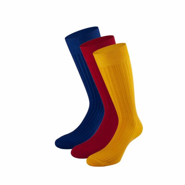 Mehrfarbiges edles Business Socken Bundle mit royal blue, safran gelben und roten Socken von PATRON SOCKS