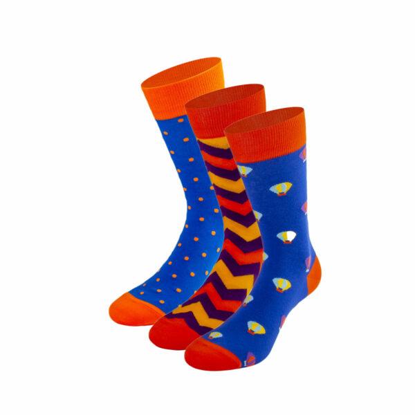 Mehrfarbiges lustiges Socken Bundle mit Zick Zack, Punkte und Heißluftballon Socken von PATRON SOCKS