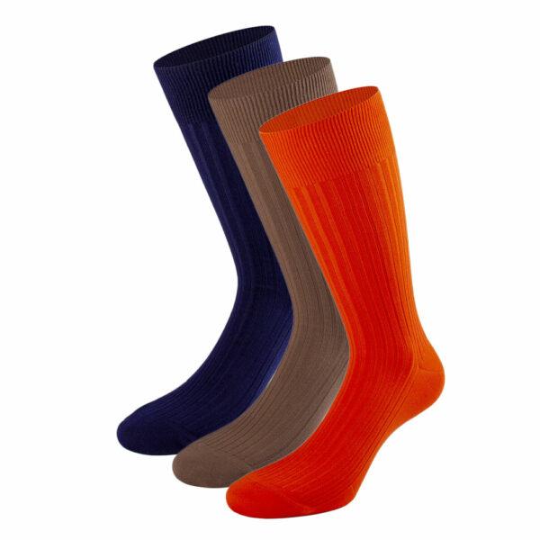 Mehrfarbiges edles Business Socken Bundle mit marine blauen, hell braunen und orangen Socken von PATRON SOCKS