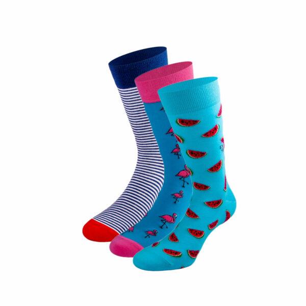 Mehrfarbiges lustiges Socken Bundle mit Flamingo, Melonen und gestreiften Socken von PATRON SOCKS