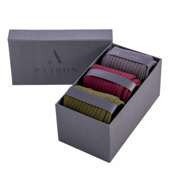 """Mehrfarbige luxuriöse Geschenkbox """"Argon"""" mit bunten Business Socken von PATRON SOCKS"""