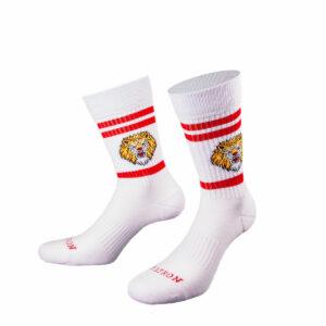 Weiße Tennis Socke mit Löwenkopf von PATRON SOCKS