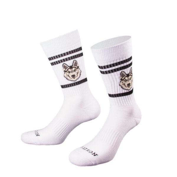 Weiße Tennis Socke mit Husky Kopf von PATRON SOCKS